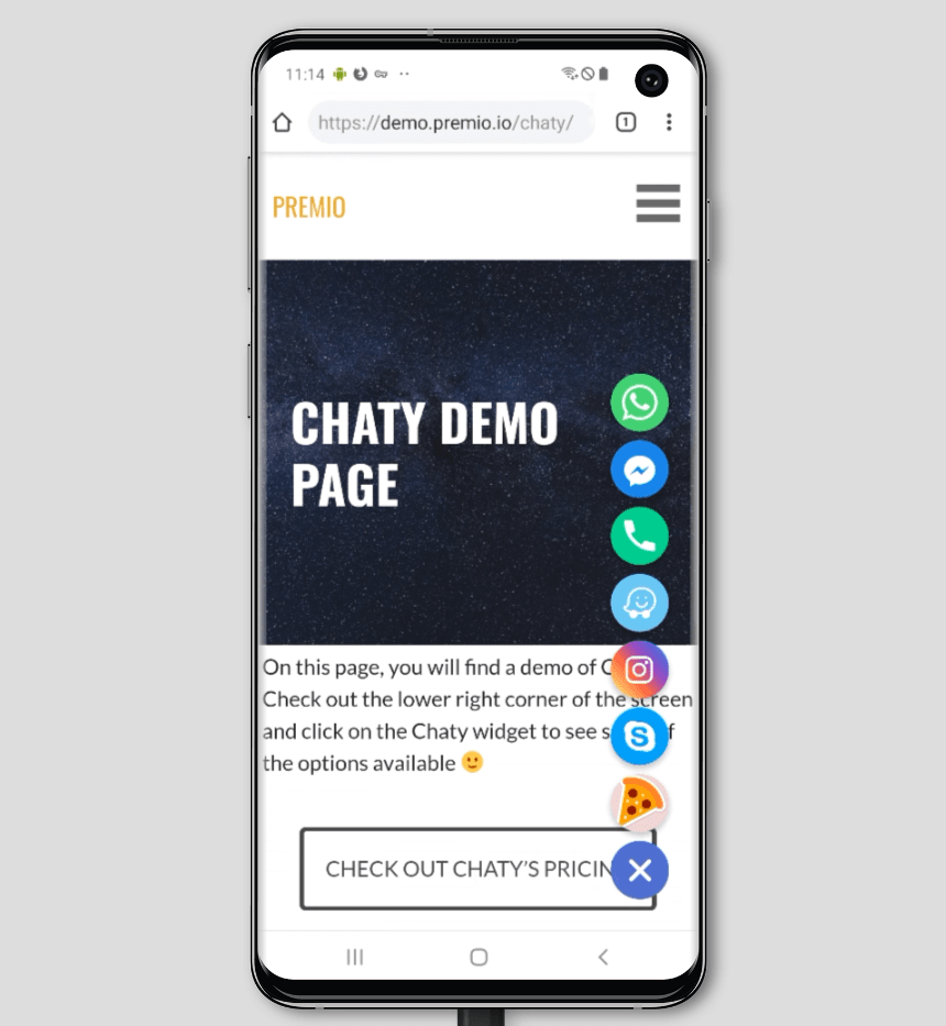 Chaty - WhatsApp, Messenger, Telegram, Email, SMS, Maps, Chat & Call button - 2