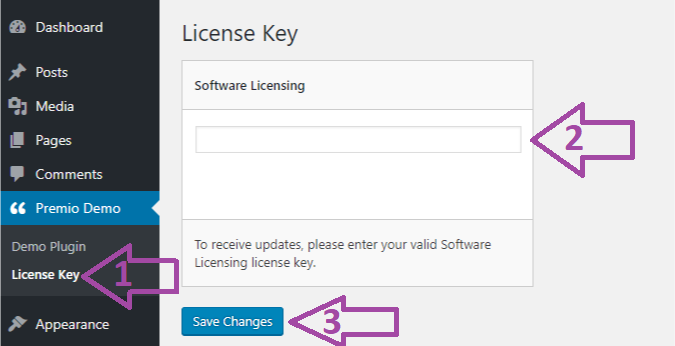 "Now click on ""License Key"" option, fill out your license key, and click on ""Save Changes"""